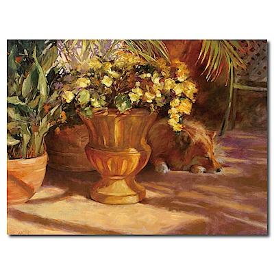 橙品油畫布-單聯式橫幅 掛畫無框畫 花店的狗兒 40x30cm