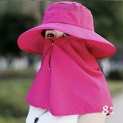 【89 zone】日系時尚配色休閒百搭防曬/遮陽帽(玫紅)