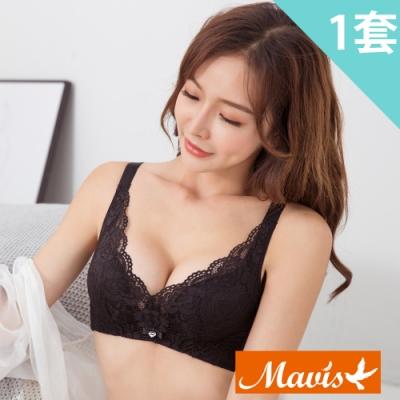 Mavis瑪薇絲-柔軟蕾絲集中無鋼圈內衣褲(黑色)