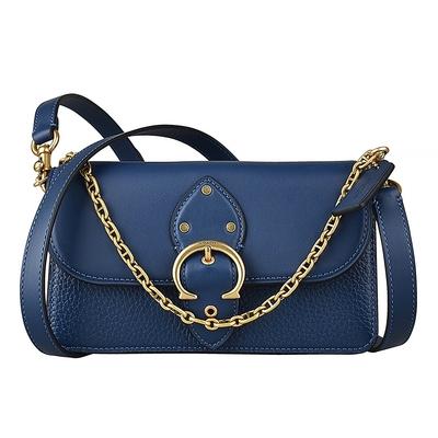 COACH BEAT金釦LOGO鏈帶設計荔枝紋牛皮釦式手提斜背包(藍)