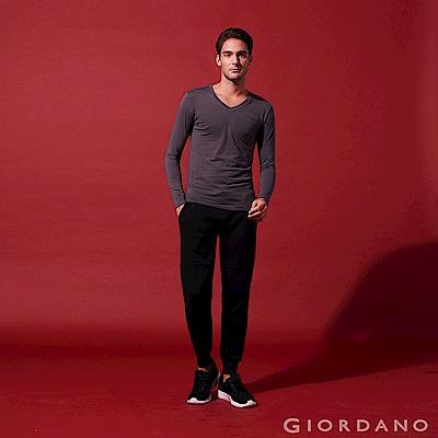 GIORDANO 男裝G-MOTION珠地布鬆緊腰休閒運動束口褲-09 標誌黑