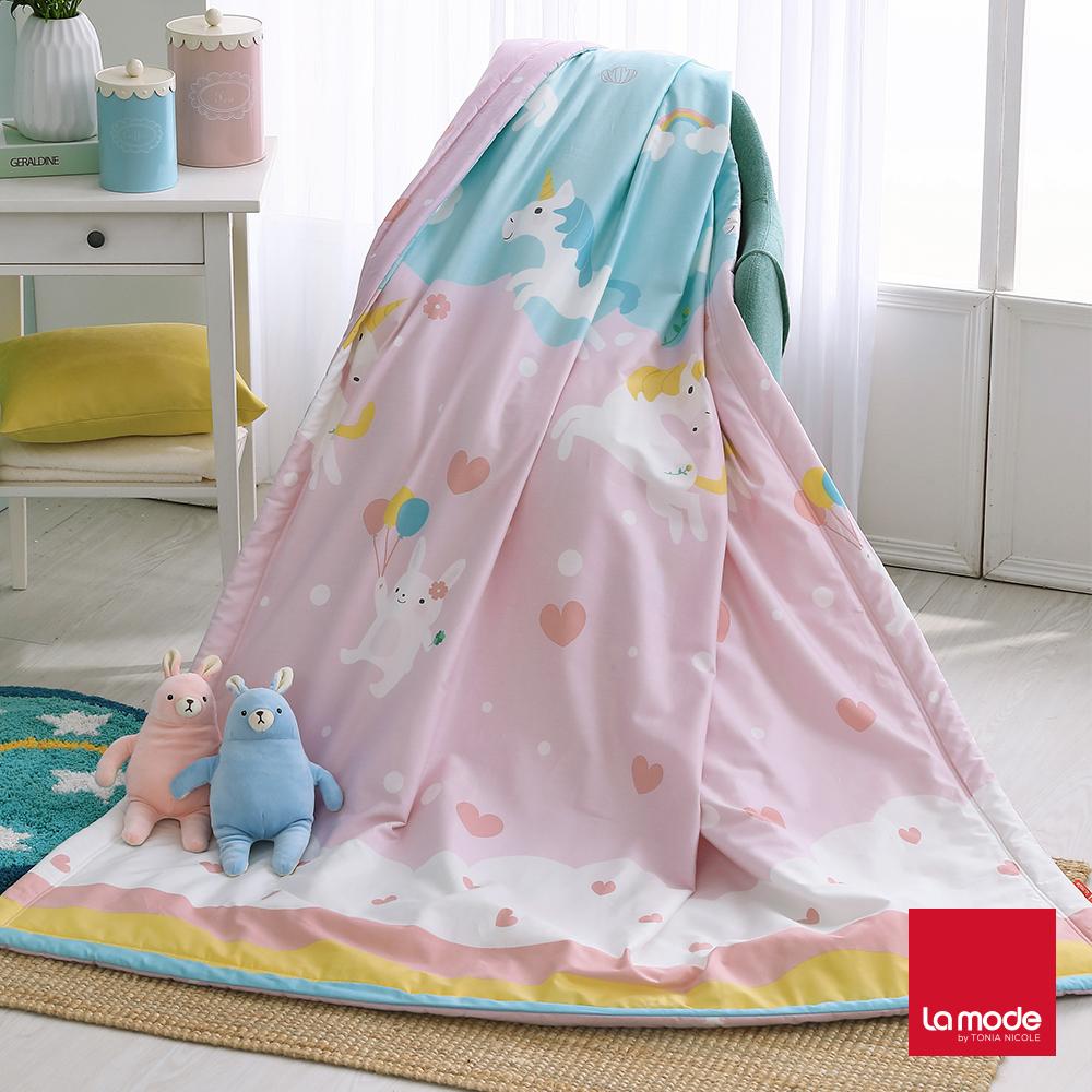 La Mode寢飾 親親獨角獸環保印染100%精梳純棉涼被(單人)