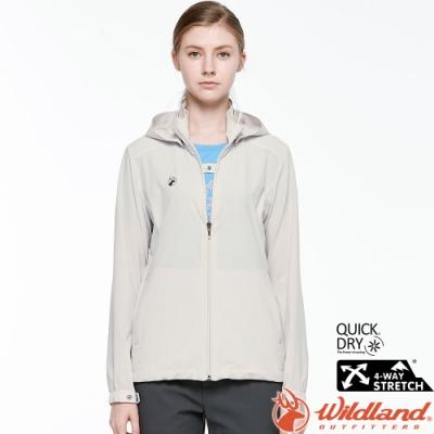 Wildland 荒野 0A81911-83白卡其 女彈性透氣輕薄外套 抗UV遮陽外套/透氣夾克/連帽防曬/登山運動