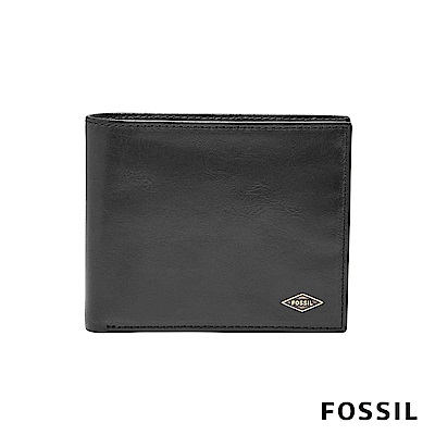 FOSSIL RYAN 真皮RFID大零錢袋男夾-黑色