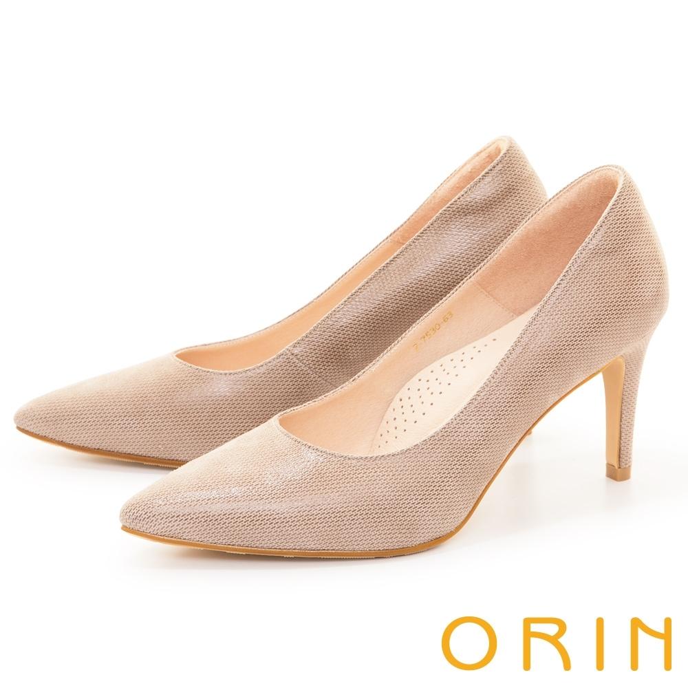 ORIN 貼膜真皮百搭尖頭 女 高跟鞋 裸色