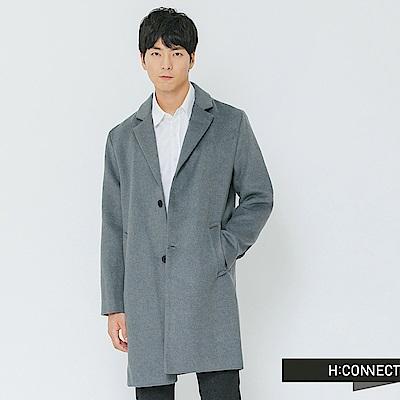 H:CONNECT 韓國品牌 男裝-單排釦翻領毛呢大衣-藍