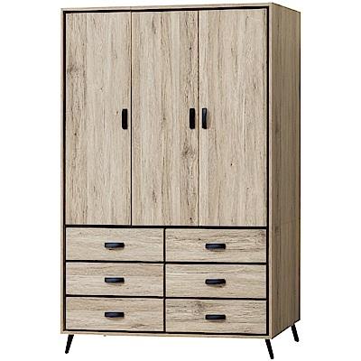 綠活居 利斯瑪4尺三門六抽衣櫃(吊桿+穿衣鏡+內開放層格)-121x60x197cm-免組