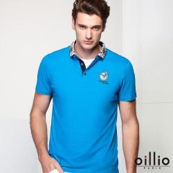 oillio歐洲貴族 超柔透氣修身POLO衫 特色花樣領設計 藍色