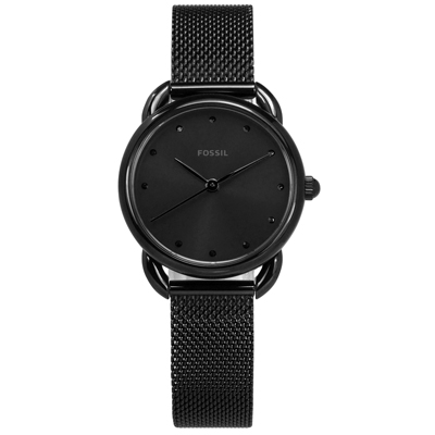 FOSSIL 極簡主義 礦石強化玻璃 米蘭編織不鏽鋼手錶-鍍黑/26mm