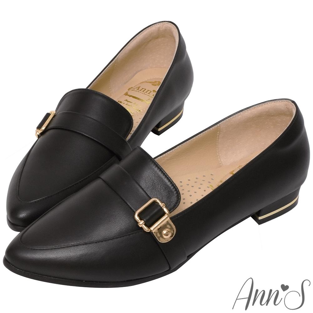 Ann'S綿羊皮真皮金釦加寬楦尖頭低跟紳士鞋-黑