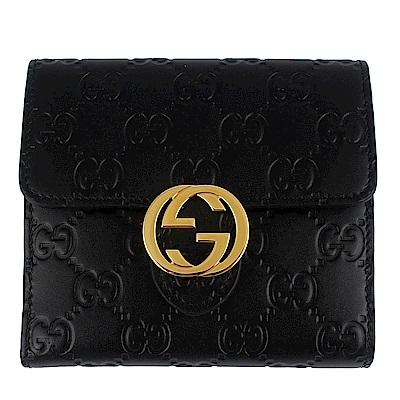 GUCCI Icon 黑色厚質皮革雙G金屬標誌中夾(12卡)
