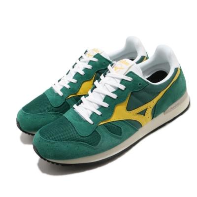 Mizuno 休閒鞋 GV87 復古 低筒 男鞋 美津濃 麂皮鞋面 球鞋穿搭 古著 綠 黃 D1GA190532