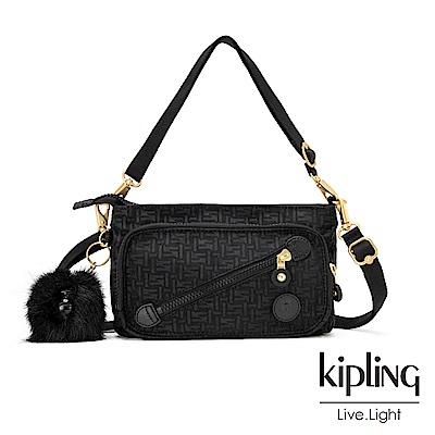 Kipling黑色斜拉鍊肩背包-MILOS
