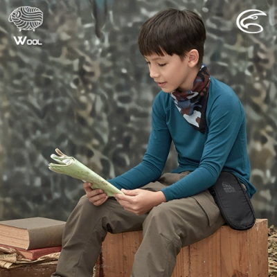 ADISI 童美麗諾混紡羊毛圓領彈性保暖衣AU2021033 / 普魯士藍