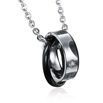 GIUMKA白鋼項鍊永恆印記黑色男短鍊 情侶款 單個價格