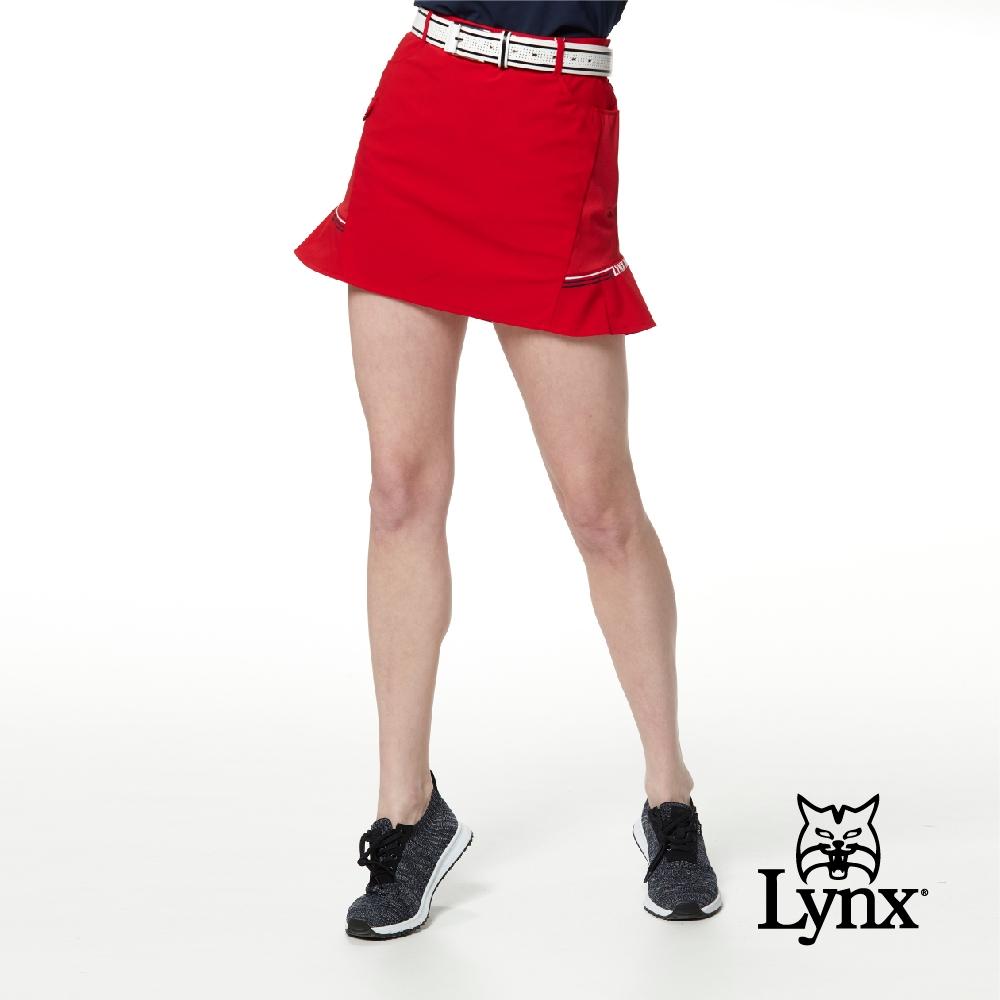 【Lynx Golf】Korea 女款織帶設計線條搭配休閒短裙-紅色