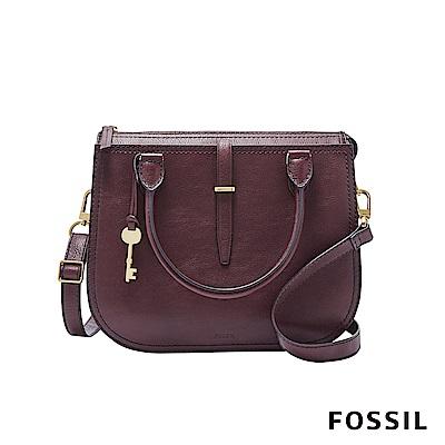 FOSSIL RYDER 真皮圓弧手提/側背兩用包-棗紅色