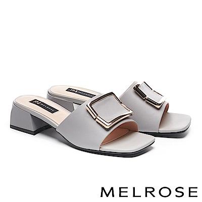 拖鞋 MELROSE 知性時尚金屬方釦羊皮粗高跟拖鞋-灰