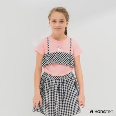 Hang Ten-女童-Sanrio格紋剪接短袖T恤-粉色