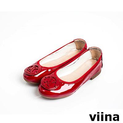 viina經典LOGO鏡面釦漆皮摺疊鞋MIT-紅