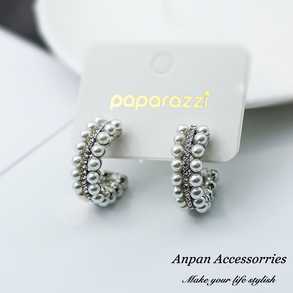 【全館五折】ANPAN愛扮925銀針韓東大門NYU C型水鑽雙排珍珠耳環-銀色