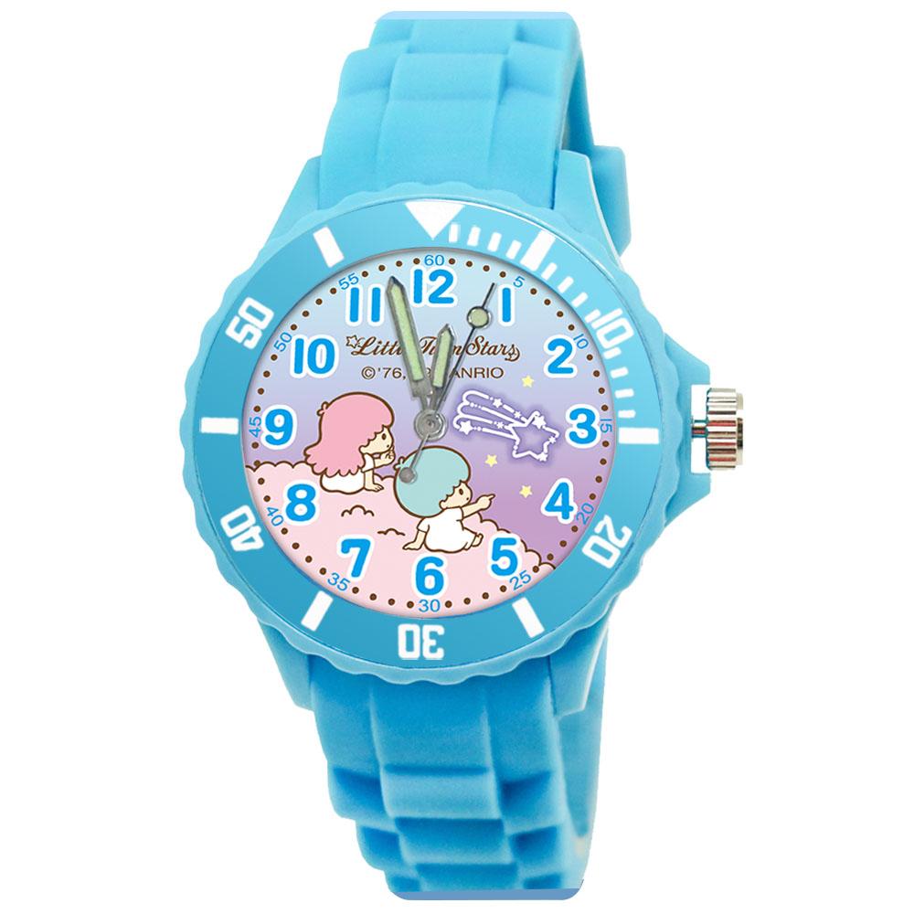 Sanrio三麗鷗二代中型運動彩帶錶34mm-雙星仙子 KIKILALA 天藍色