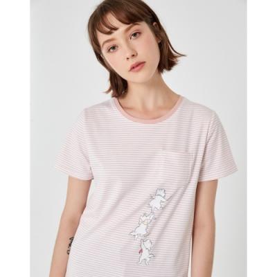 CACO-瑪麗貓條紋口袋T-女【TDI151】
