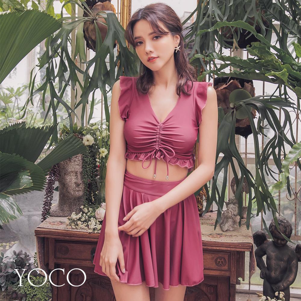 東京著衣-YOCO  復古仿舊刷色胸抽繩兩截式泳衣-S.M.L