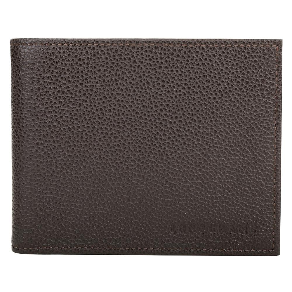 LONGCHAMP Le Foulonne 荔紋牛皮對折零錢袋短夾(咖啡色)