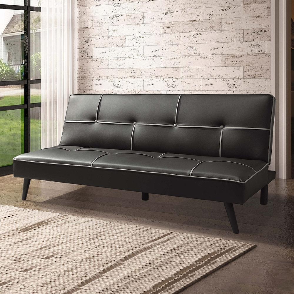 Boden-查理斯時尚黑色皮沙發床/三人椅/三人座