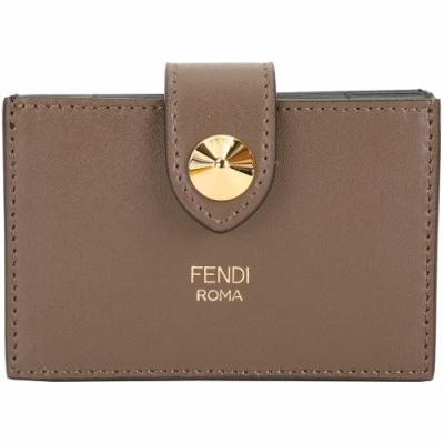 FENDI By The Way 鉚釘小牛皮卡片夾(灰棕色)