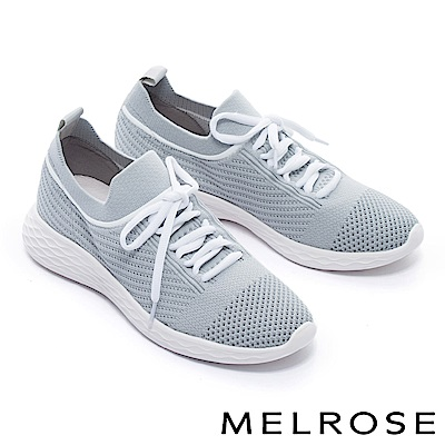 休閒鞋 MELROSE 運動風綁帶造型飛織厚底休閒鞋-灰