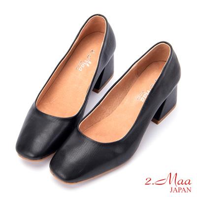 2.Maa (偏小)氣質UP柔軟牛皮方頭高跟鞋 - 黑色