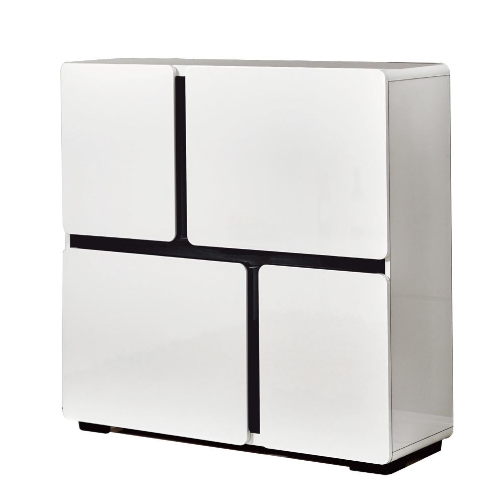 文創集 法蘭西斯現代白3.3尺四門鞋櫃/玄關櫃-100x35x100cm免組