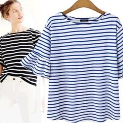 MOCO立體滾邊大荷葉袖七分袖橫條紋大圓領棉質T恤XL~4XL