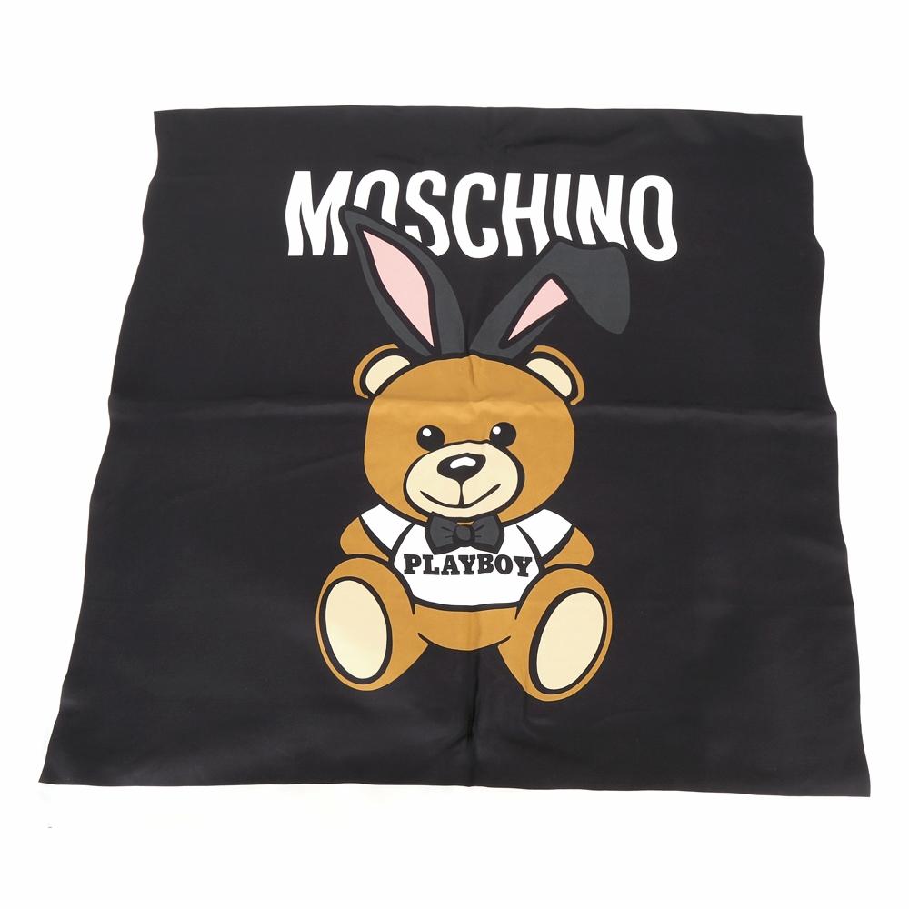 MOSCHINO Playboy 兔耳泰迪熊圖案絲質披肩(黑色)