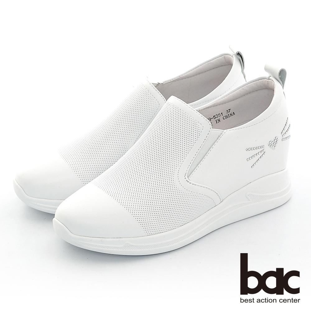 【bac】休閒享樂貓咪貼鑽手內增高懶人休閒鞋-白