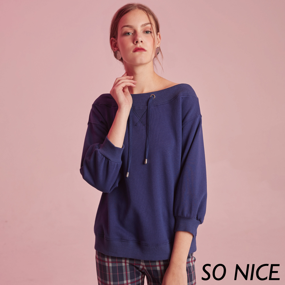 SO NICE簡約露肩七分燈籠袖上衣 product image 1