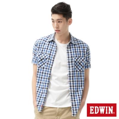 EDWIN 襯衫 竹節休閒格紋短袖襯衫-男-丈青