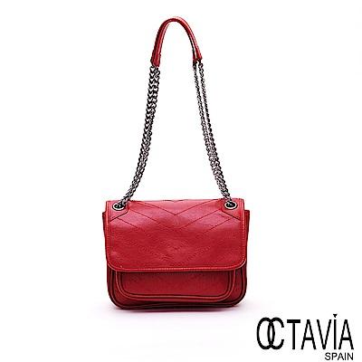OCTAVIA 8 真皮 - 星光  V字車線牛皮時尚鍊條小書包 -南極紅