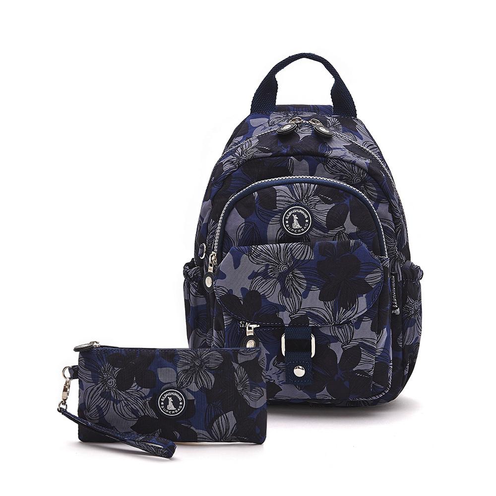 B.S.D.S冰山袋鼠-楓糖瑪芝x輕旅單肩後背兩用包+零錢包2件組 - 花繪風