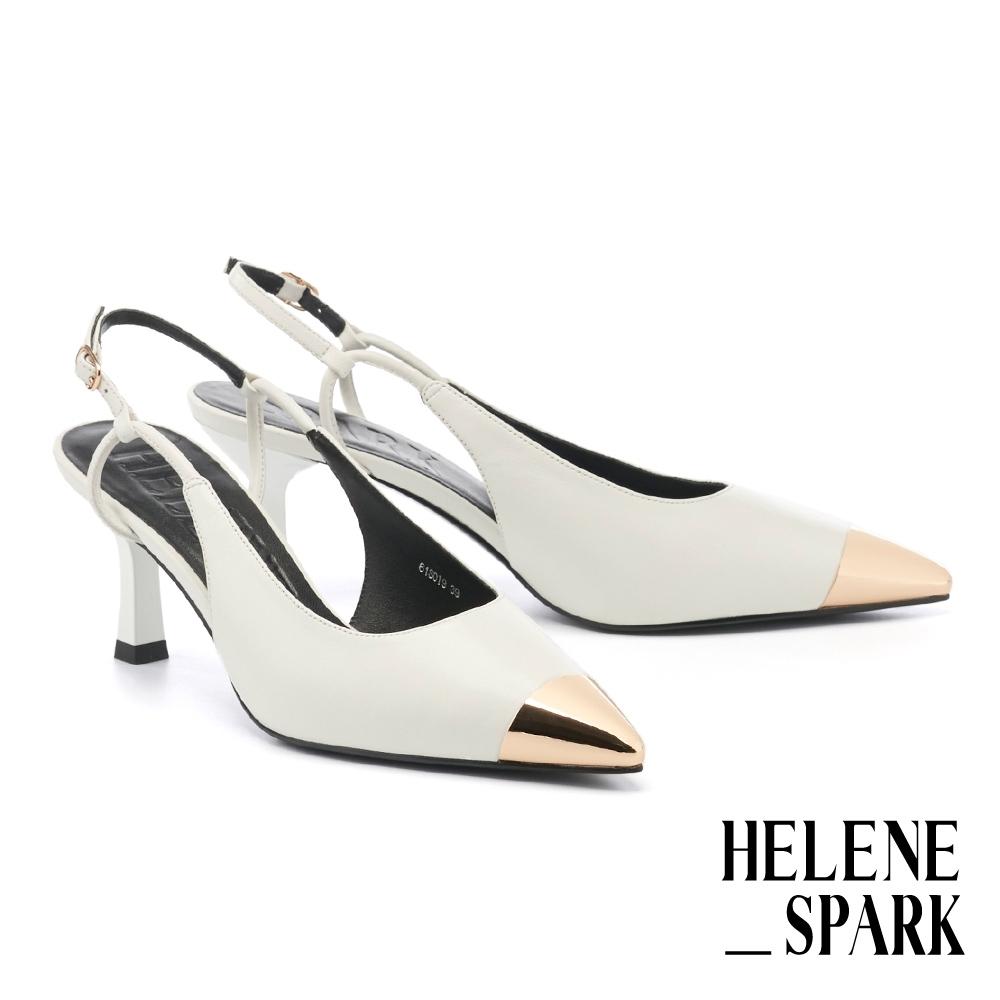高跟鞋 HELENE SPARK 現代經典美學金屬拼接羊皮尖頭後繫帶高跟鞋-白