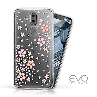 EVO CASE Nokia 8.<b>1</b> 奧地利水鑽彩繪防摔殼-櫻花