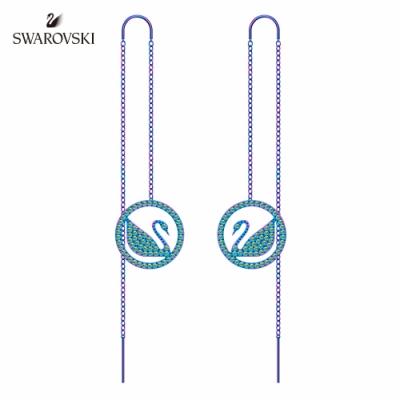 施華洛世奇 Pop Swan 丁香紫色圓形天鵝吊牌垂吊穿孔耳環