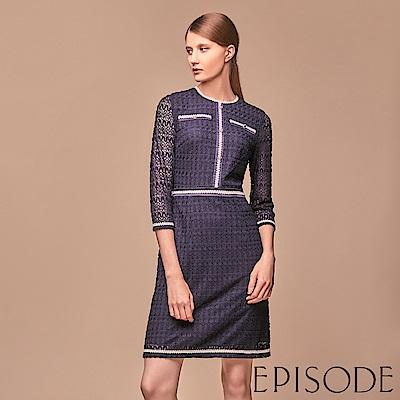 EPISODE - 蕾絲織帶配色滾邊圓領洋裝