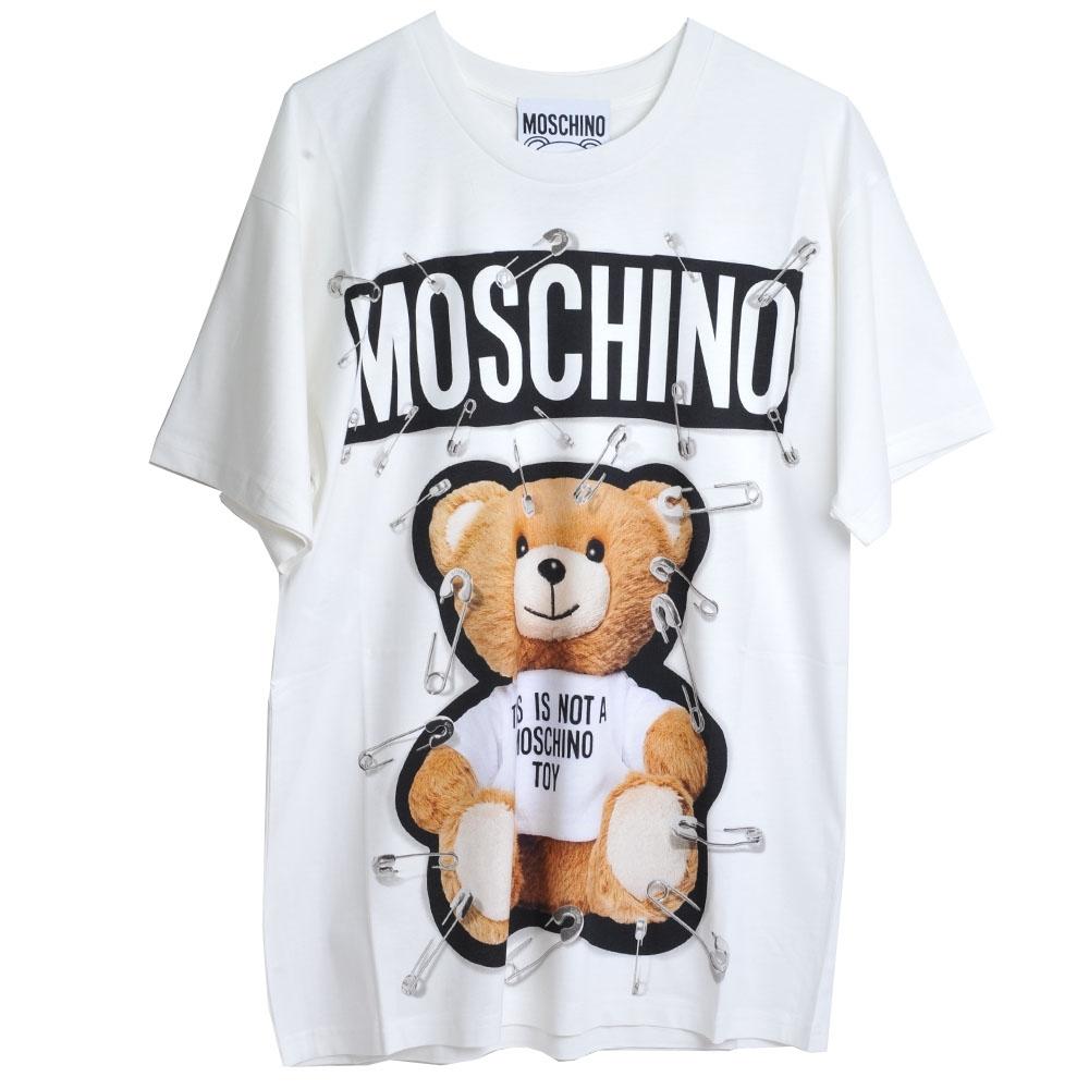 MOSCHINO COUTURE 別針彩色泰迪熊品牌字母LOGO圖騰棉質寬版T恤上衣(白底)