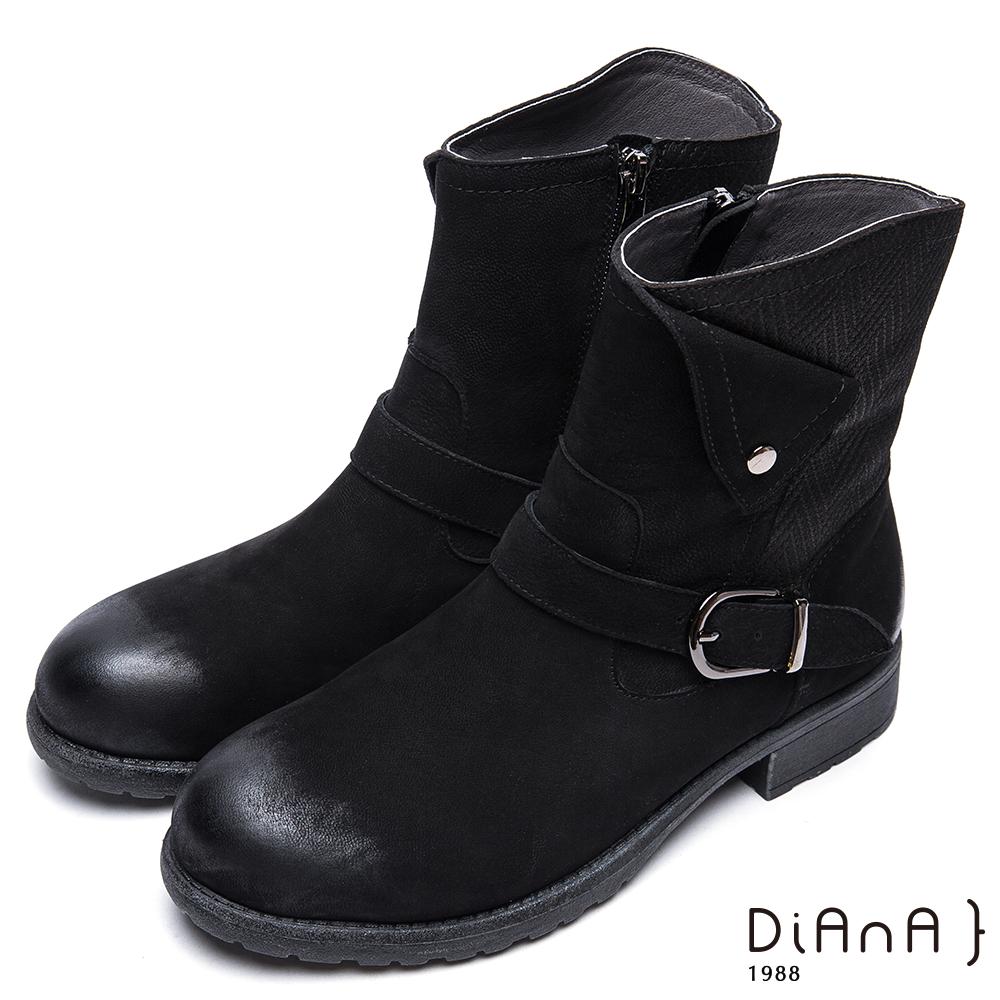 DIANA方釦反摺編織紋拼接真皮工程靴-簡約率性-黑