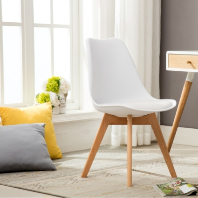 E-home-EMSB北歐經典造型軟墊櫸木腳餐椅-白色