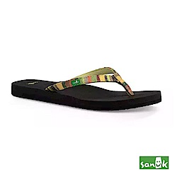 SANUK 夏威夷風格人字拖鞋-女款(綠黃色)