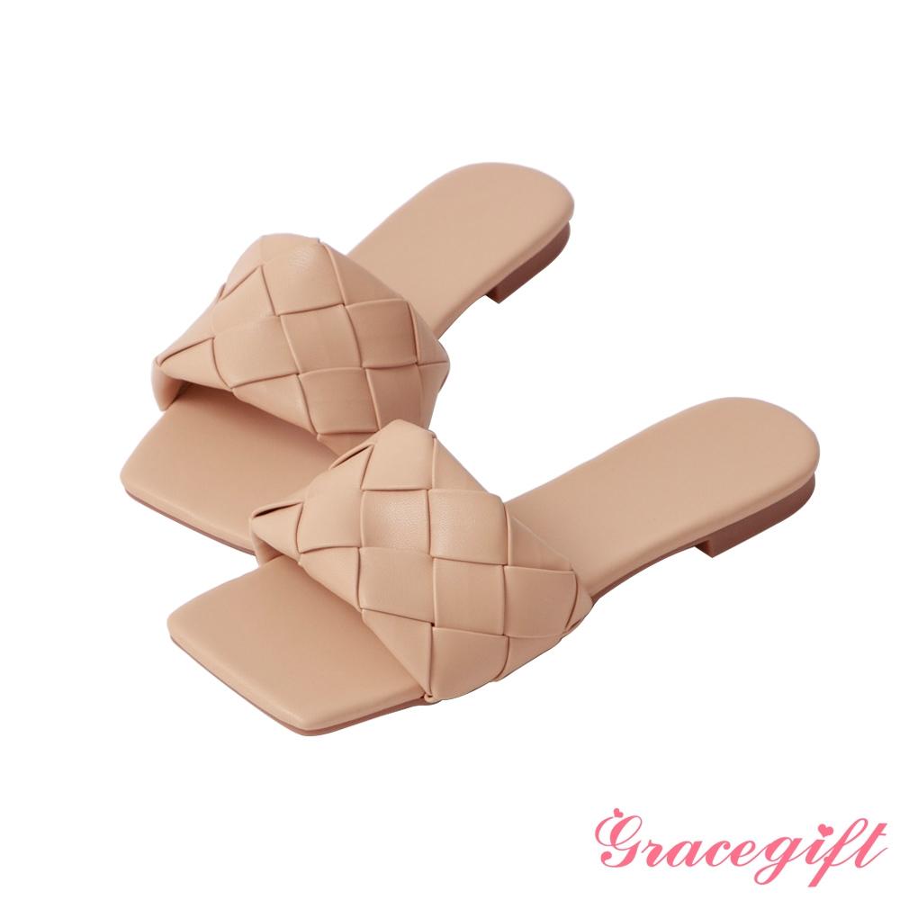 Grace gift-編織一字平底涼拖鞋 杏